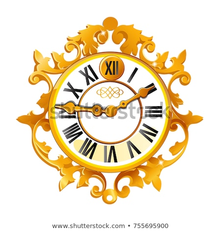 Vintage golden wall clock with ornate dial isolated on white background. Sample of Christmas and New Stock photo © Lady-Luck