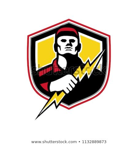 electrician thunderbolt crest mascot stock photo © patrimonio