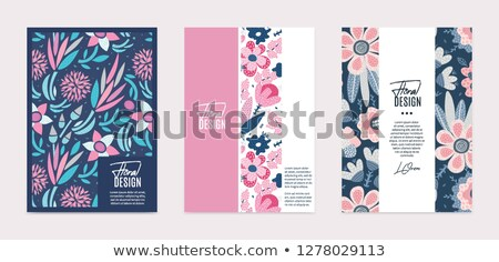 Set of vector templates. Hand drawn abstract flowers with different textures. Floral composition Stock photo © user_10144511