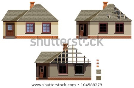 Brick house with broken door and windows vector illustration