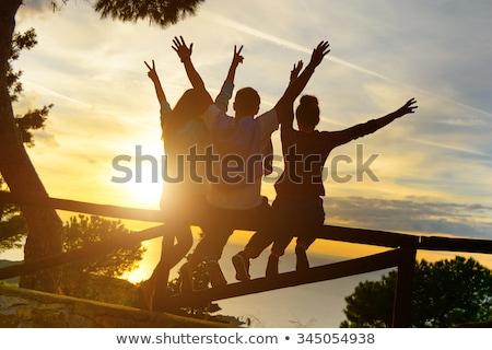 Grupy szczęśliwy międzynarodowych znajomych odkryty ludzi Zdjęcia stock © dolgachov