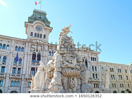 Stock fotó: Trieste City Hall And Four Continents Fountain In Italy