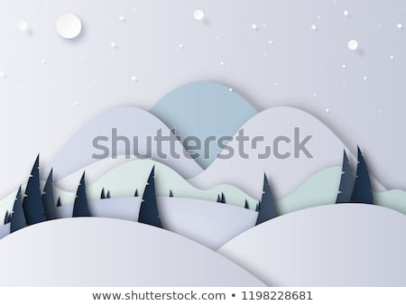 Merry Christmas Paper Cut with Pine Tree Wood Stock photo © robuart