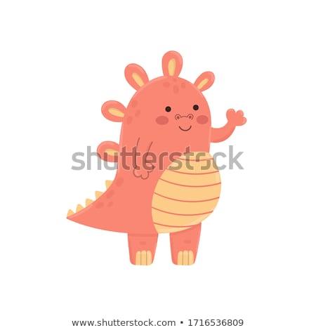 happy pink monster cartoon mascot character waving for greeting stock photo © hittoon