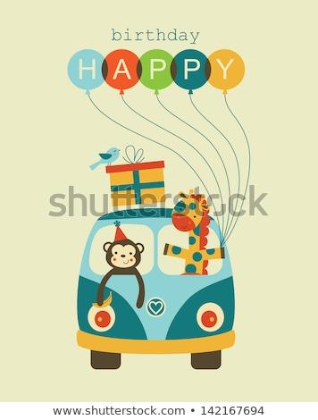 Happy Birthday card with monkey and balloons Stock photo © colematt