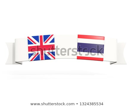 Banner with two square flags of United Kingdom and thailand Stock photo © MikhailMishchenko