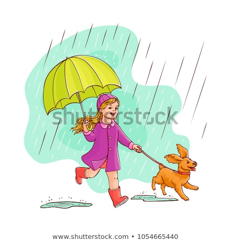 Little Girl Walking A Dog Under Umbrella In The Rain Vector. Isolated Illustration Stock photo © pikepicture