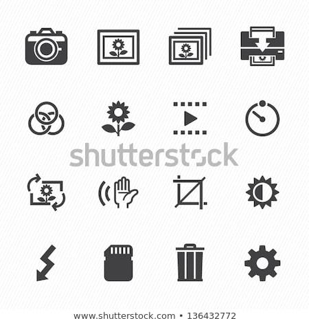 icon · foto · camera · sensor · glanzend · knop - stockfoto © angelp