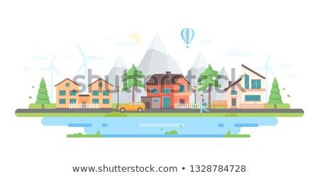landschap · bergen · moderne · ontwerp · stijl · Blauw - stockfoto © decorwithme