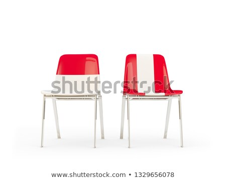 Two chairs with flags of Indonesia and peru Stock photo © MikhailMishchenko