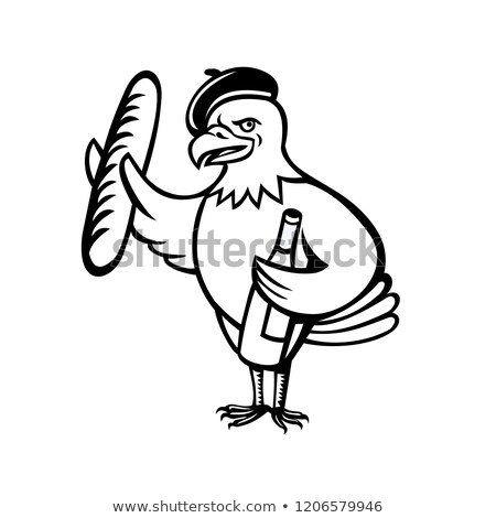 Aigle béret baguette vin cartoon Photo stock © patrimonio