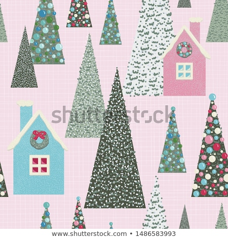 Christmas Tree Seamless Pattern Vector. Winter Holiday. Green December Decor. Cute Graphic Texture.  Photo stock © pikepicture