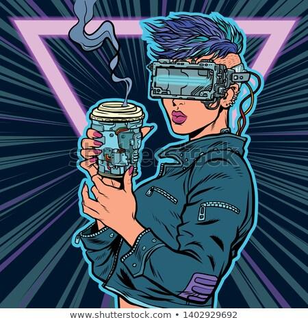 cyberwoman drinks drink. virtual reality glasses Stock photo © studiostoks