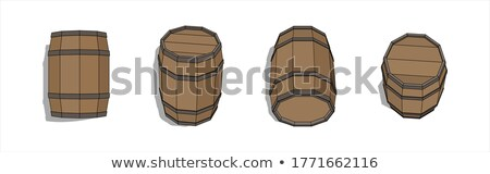 Winery Brown Wooden Oak Barrel Front View Vector Stock photo © pikepicture