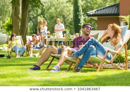 Camping People, Couple Having Picnic on Nature Stock photo © robuart