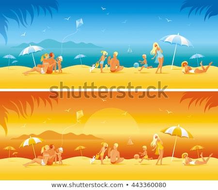 leuk · zon · cartoon · ingesteld · zomer · projecten - stockfoto © robuart
