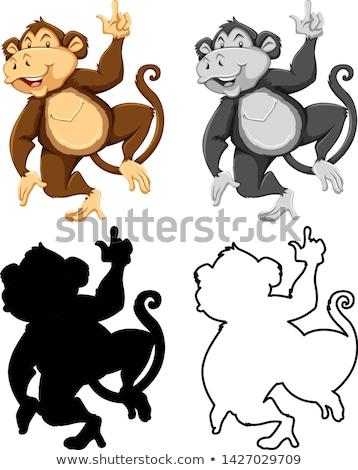 állat · skicc · boldog · majom · illusztráció · természet - stock fotó © bluering