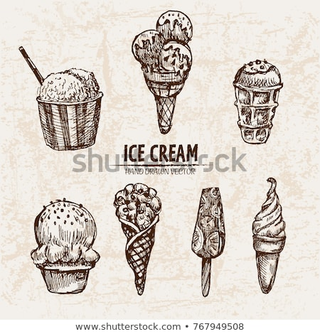 Color Glass With Fruit Scoop Ice Cream Vintage Vector Stock photo © pikepicture