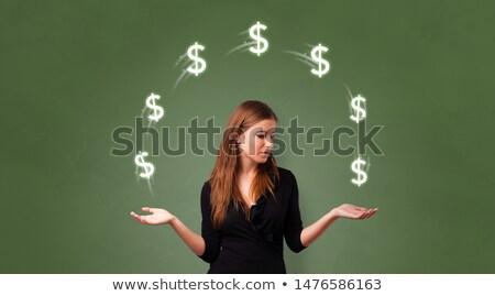 Person juggle with dollar symbol Stock photo © ra2studio