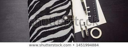 Jegyzettömb irodaszer fekete tervező üzlet tanulás Stock fotó © galitskaya