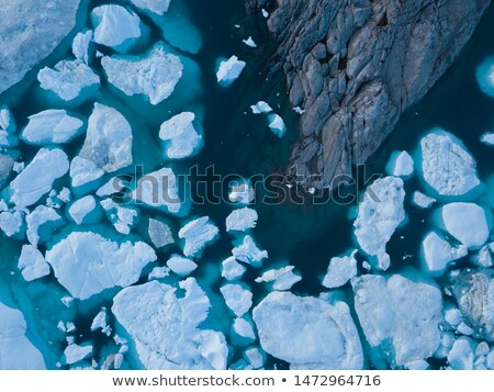 Arctic nature landscape with icebergs in Greenland icefjord - aerial drone image Stock photo © Maridav