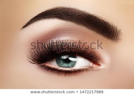 Beautiful macro shot of female eye with extreme long eyelashes and black liner makeup. Perfect shape Stock photo © serdechny