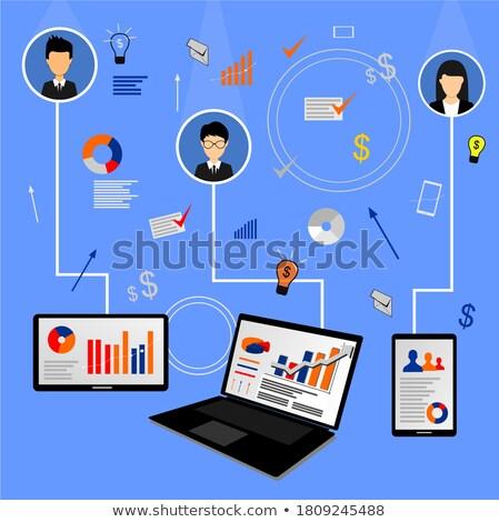 Afbeelding zakenman werken laptop tablet Stockfoto © Freedomz