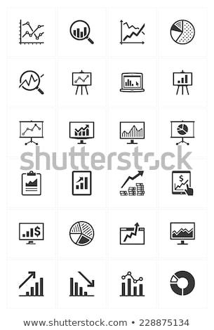 Wykres monitor komputerowy finansowych wektora ikona cienki Zdjęcia stock © pikepicture