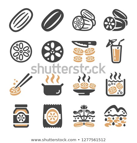 lotus root icon set stok fotoğraf © bspsupanut