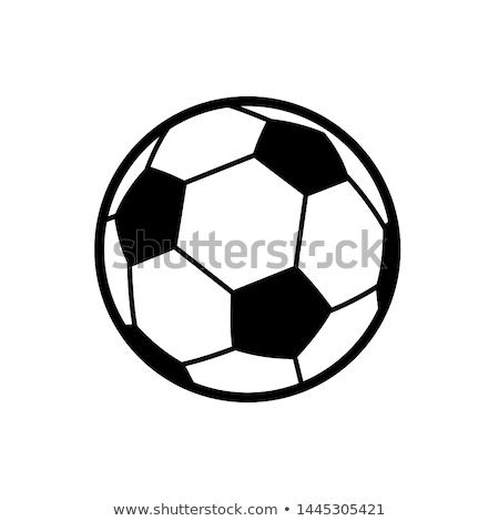 белый черный футбольным мячом икона изолированный Сток-фото © MarySan