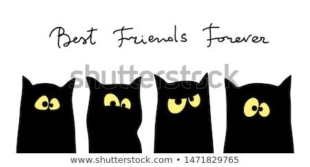 Quatre noir chats silhouettes différent amitié Photo stock © ESSL