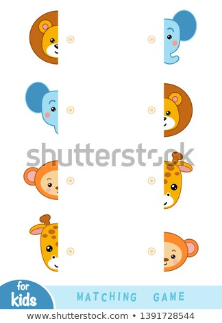 match halves of elephants educational game Stock photo © izakowski