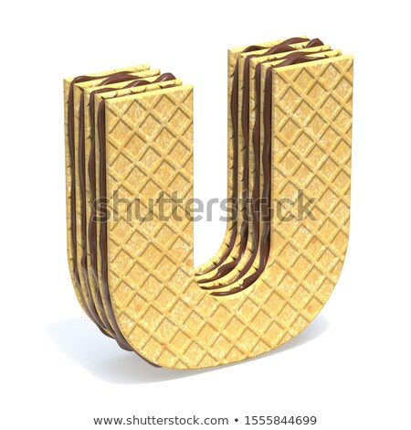 Waffles font with chocolate cream filling Letter U 3D Stock photo © djmilic