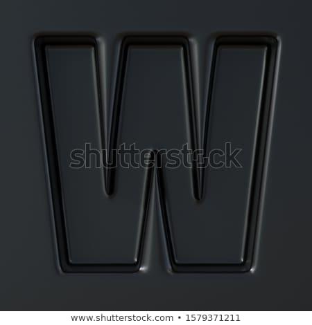 Negro grabado fuente letra w 3D 3d Foto stock © djmilic