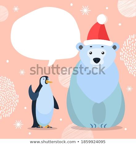 Jegesmedve császár pingvin üdvözlőlap sarki fehér Stock fotó © robuart