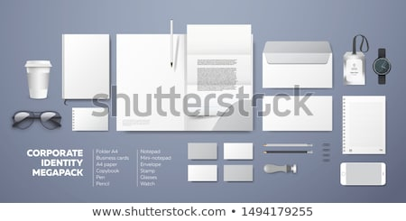 Stationery template design with square elements Stock photo © ShustrikS