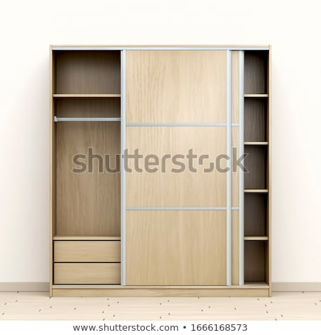 Lege garderobe deuren witte hout deur Stockfoto © magraphics