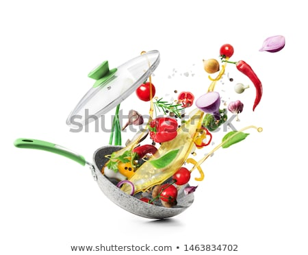 Kitchen cooking background with frying pan Stock photo © furmanphoto