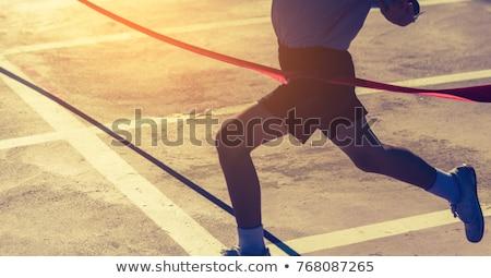 марафон Runner гонка силуэта ретро-стиле Сток-фото © patrimonio