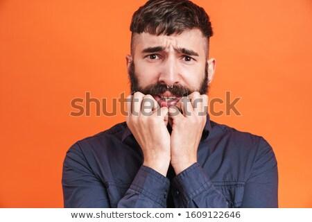 Kép közelkép férfi orr ékszerek arc Stock fotó © deandrobot