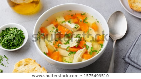 fincan · tavuk · çorba · akşam · yemeği · rulo - stok fotoğraf © joker