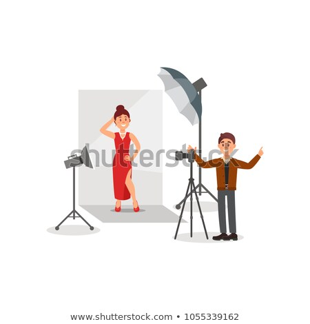 vector illustration of a girl model in red on the photo shoot stock photo © tottoro