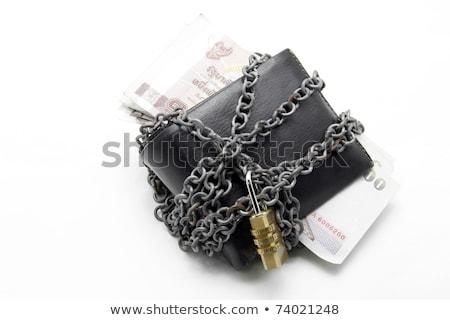 черный кожа бумажник блокировка деньги Сток-фото © vichie81