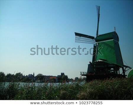 Moulin à vent ciel bleu ciel rétro météorologiques Photo stock © skylight