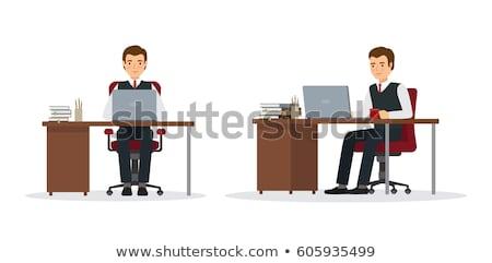 ビジネスマン · 座って · コンピュータ · 肖像 · 笑みを浮かべて - ストックフォト © Edbockstock