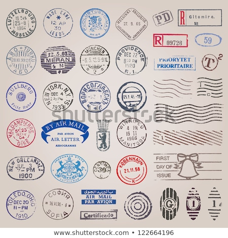 Stock photo: Collection of vector vintage postage stamps