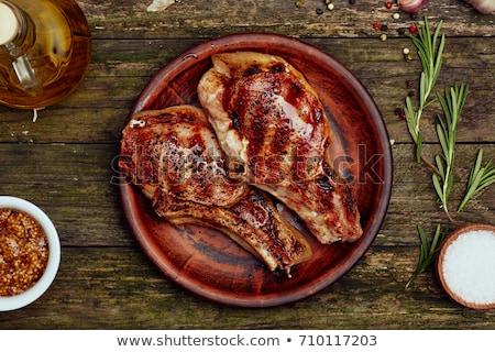 domuz · eti · el · yalıtılmış · beyaz - stok fotoğraf © joker