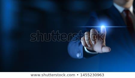 uomo · d'affari · pulsante · computer - foto d'archivio © hasloo