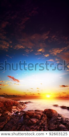 amazing sunset scene long exposure shot vertical composition stock photo © moses