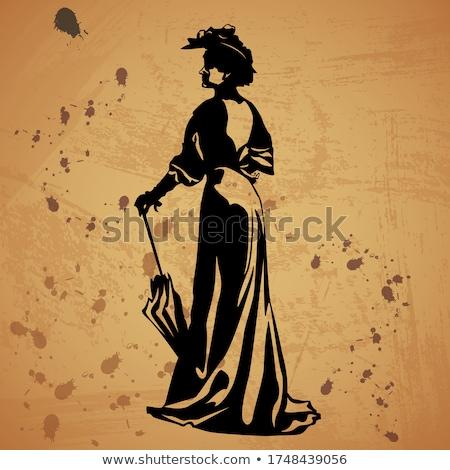 красивая · женщина · лице · Hat · женщину · аннотация · дизайна - Сток-фото © essl